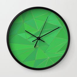 Green metal low poly background Wall Clock