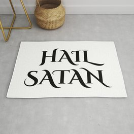 Hail Satan- Antichrist quote with occult symbol Rug