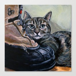 Brown Tabby Cat with her Best Friend, A Boot Canvas Print