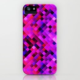Purple Red Lilac Bright Squares iPhone Case