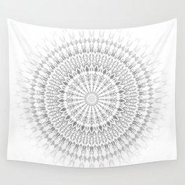 Light Grey White Mandala Wall Tapestry