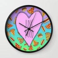 junk food Wall Clocks featuring JUNK FOOD by SteffiMetal