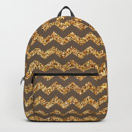 Rose Ebony Gold Glitter Chevron Pattern Backpack