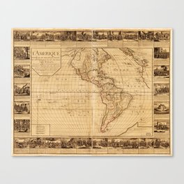 Map of North and South America (1752) Canvas Print