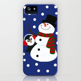 Cute Penguin Snowman Holiday Design iPhone Case