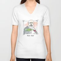 monet V-neck T-shirts featuring Claude Monet by Lucy Weigard