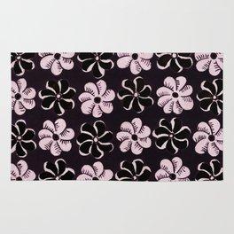 Floral design Black & Light Fuchsia Flowers Print Rug