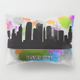 Kansas city skyline silhouette Pillow Sham