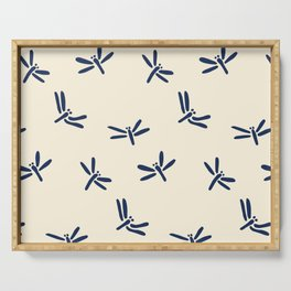 Blue Japanese Dragonfly Pattern Serving Tray