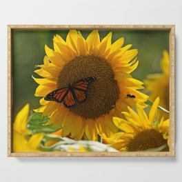 The butterfly the bee and the sunflower Serving Tray