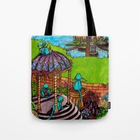 monkey island Tote Bags featuring Monkey Island by Charlie L'amour