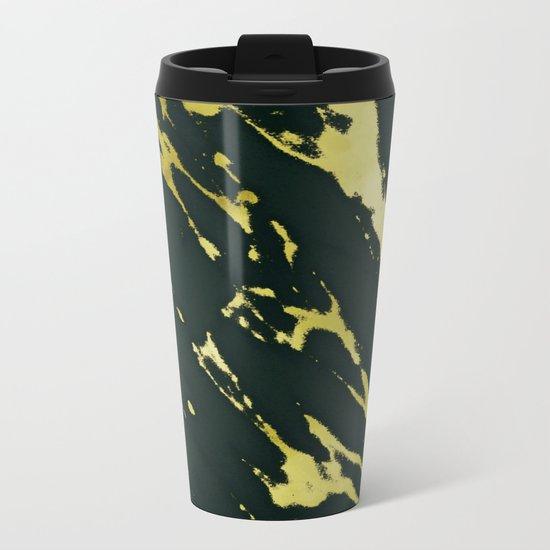 Gold Black Marble Metal Travel Mug