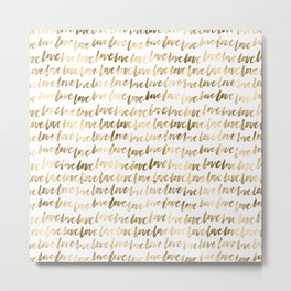 Gold Love Pattern Metal Print
