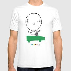A man in a car White SMALL Mens Fitted Tee