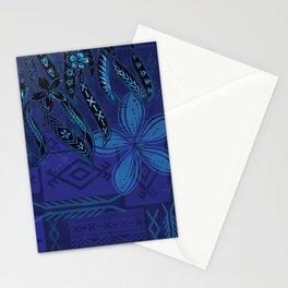 Samoan Blue Malu Mana Tribal Collage Stationery Cards