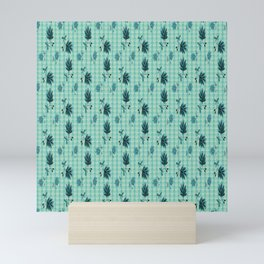 country blue flowers pattern Mini Art Print