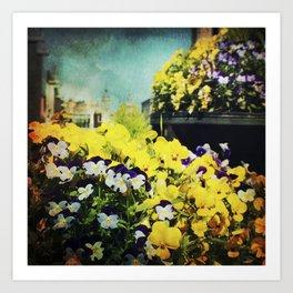 Behind the flowers Art Print