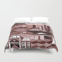 melbourne Duvet Covers featuring Melbourne Travel Poster Illustration by ClaireIllustrations