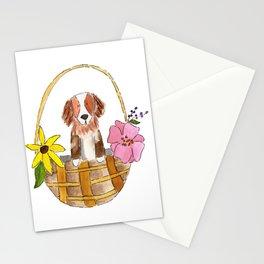 May Day dog basket Stationery Cards