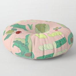 Green Kawaii Vegetables Floor Pillow