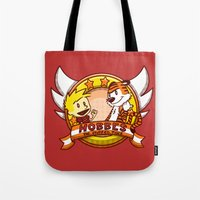 calvin and hobbes Tote Bags featuring Calvin and Hobbes: Hobbes The Stuffed Tiger by Macaluso