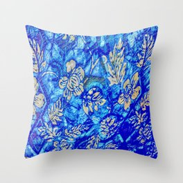 Breath Taking Light Blue Abstract Leaf Throw Pillow