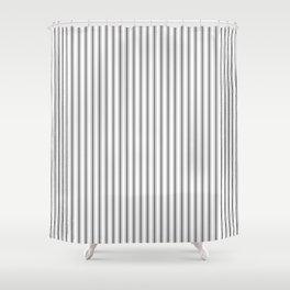 Ticking Narrow Striped Pattern in Dark Black and White Shower Curtain