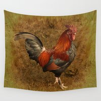 rooster Wall Tapestries featuring ROOSTER - 026 by Lazy Bones Studios