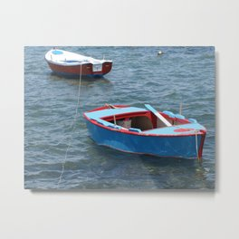 Fishing Boats on Calm Water Metal Print