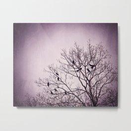 Dark Purple Birds Tree Branches Photography, Violet Black Bird Trees Nature Spooky Metal Print