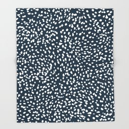 Navy Dots abstract minimal print design pattern brushstrokes painterly painting love boho urban chic Throw Blanket