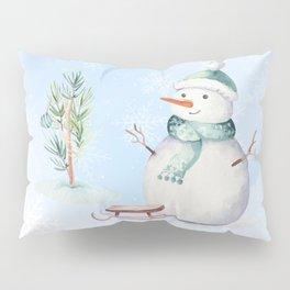 Cute adorable Snowman Pillow Sham