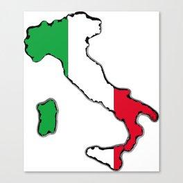 Italy Map with Italian Flag Canvas Print