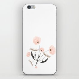 Sweet dandelions in pink - Floral Watercolor illustration with Glitter iPhone Skin