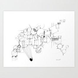 Past Blast - Fully detailed geometrical insanity Art Print