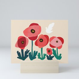 Poppy flowers and bird Mini Art Print