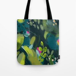 abstract jungle fever leaves in floral green Tote Bag