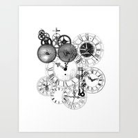 clockwork Art Prints featuring Clockwork by VectoriaDesigns