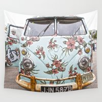 vw bus Wall Tapestries featuring VW Microbus Hippievan Flower  by Premium