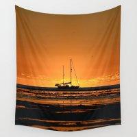 sailboat Wall Tapestries featuring Sailboat  by Galina's photography.