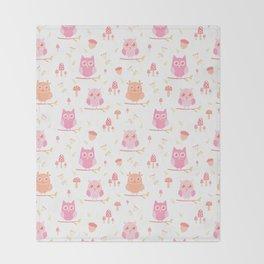 Cute funny pastel pink coral orange owl floral Throw Blanket