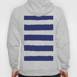 Nautical Navy Blue and White Stripe Print Hoody