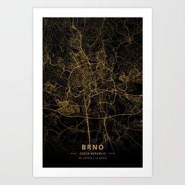 Brno, Czech Republic - Gold Art Print