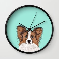 Papillon cute dog fluffy puppy funny valentine love pet gift for dog person with papillon dog Wall Clock