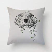 animal skull Throw Pillows featuring Animal Skull With Vines by Emilee's Fine Art