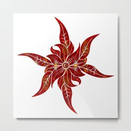 Red Flower Fantasy Designs Abstract Holiday Art  Metal Print