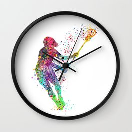 Lacrosse Girl Colorful Watercolor Sports Art Wall Clock