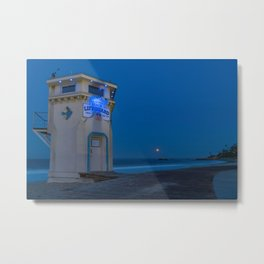 Moonset From Main Beach Metal Print