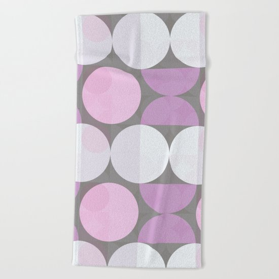 pink grey circular pattern Beach Towel