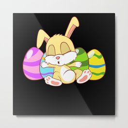 Happy Easter Egg Hunting Rabbit Day Metal Print
